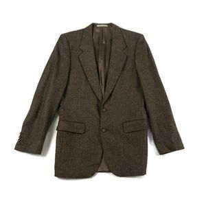 Yves Saint Laurent Vintage Mens Brown Wool Blazer
